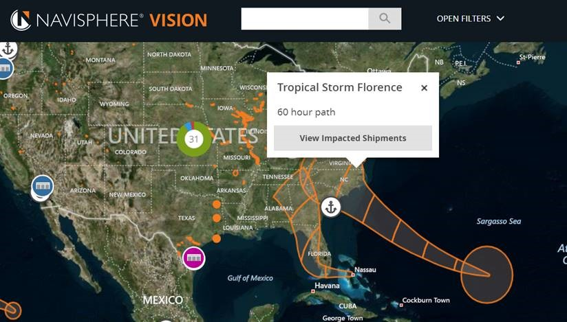 Navisphere Vision hurricane paths for Hurricane Florence.