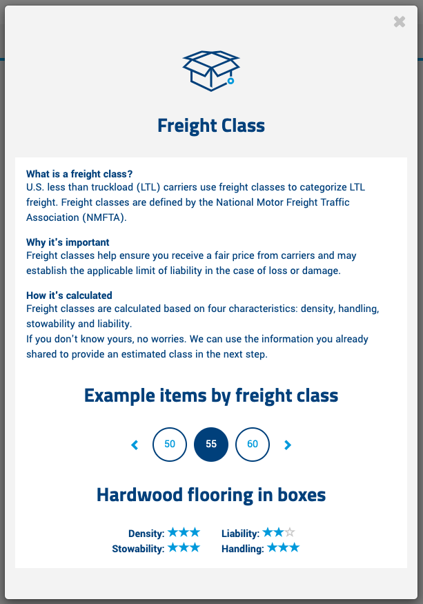 What is a freight class?